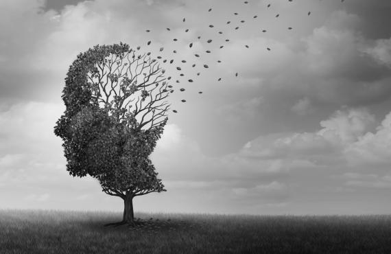 Albero da cui volano via le foglie come metafora dell'alzheimer